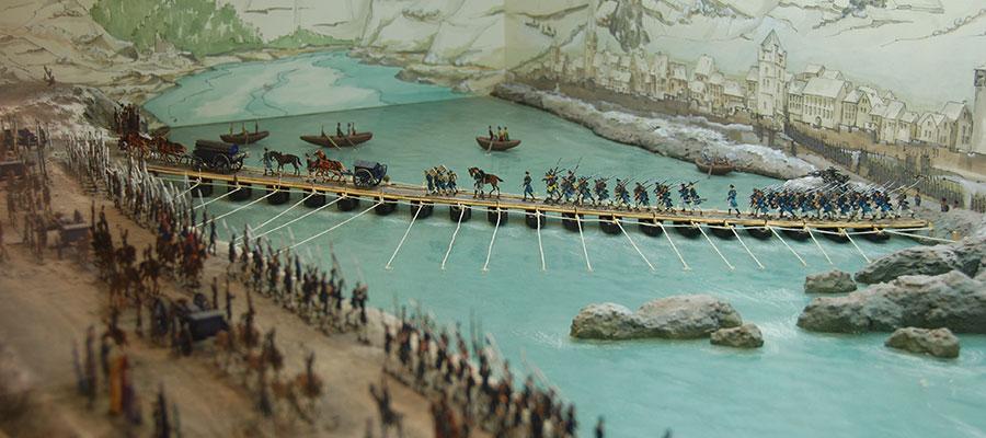 Diorama des Rheinübergangs bei Kaub 1814